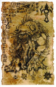 The Litany of Dagon scroll - Lovecraft prop LARP cthulhu Art Cthulhu, Call Of Cthulhu, A Thousand Years, Larp, Thor, Horror Fiction, Dark Ages, Gothic Art, Horror Art