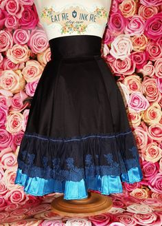 Black gothic lolita aline skirt with floral lace and by EatMeInkMe, €55.00