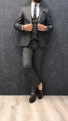 Collection: Spring Summer 2019 Product: Slim-Fit Wool Suit Color Code: Gray Size: Suit Material: wool polyester Machine Washable: No Fitting: Slim-fit Package Include: Jacket Vest Pants Only Gifts: Shirt Chain and Neck Tie Calvin Slim Fit Wool Suit - Gray Blazer Outfits Men, Stylish Mens Outfits, Grey Slim Fit Suit, Grey Suit Men, Gray Suits, Designer Suits For Men, Designer Clothes For Men, Mens Fashion Suits, Mens Suits