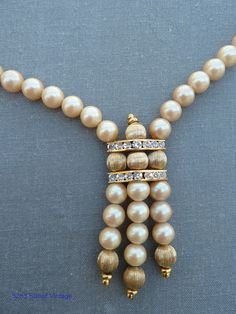 Champagne Pearls and Rhinestone Lariat Choker by 52ndstreetvintage, $73.00