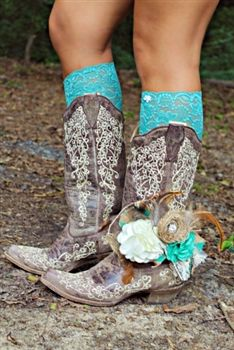 Something Blue Boot Charm. All of this is perfect for a country wedding ❤️ Love the lace boot cuffs not the boot charm! Cowgirl Wedding, Wedding Boots, Wedding Attire, Wedding Bride, Dream Wedding, Lace Wedding, Hunting Wedding, Wedding Fun, Wedding Photoshoot