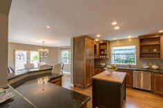 Open kitchen with entertaining bar and chef's island
