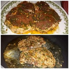 THIS iur dinner today its experiment i make PORKCHop marinated with FRESH ROSEMARY,DRIED basil,minced garlic,paprika,ground black pepper,paprika,garlic powder,GOYA ADOBO all purpose seasoning,olive oil.. and cook with butter...its tender and delicious:)
