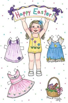 paperdollshoppe little girl paper doll happy easter black african american person of color