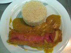 """Curry ham banana"" - From what heights did they drop the ham-banana on the plate? ( @kcanevari - bananas incoming again!!)"