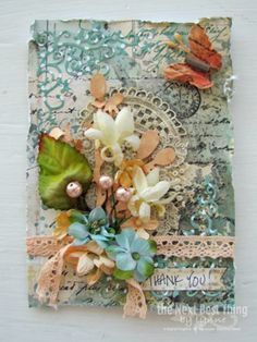 THANK YOU ~ Mom!! An altered card from Lynne Forsythe.it features Petaloo Botanica berries, Botanica flowers and Petaloo Fancy trims!  Just beautiful....