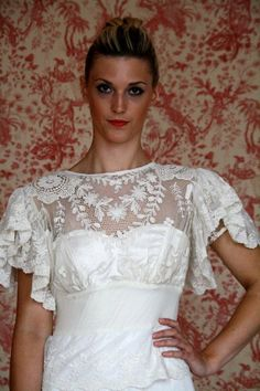 Lovely vintage lace 1930s style wedding dress by Decobridal, $699.00    @Jess Hoylman