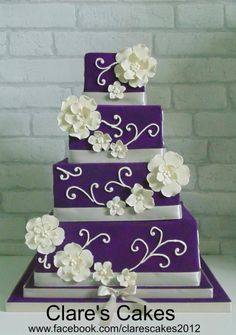new Ideas for wedding cakes purple square flower Bling Wedding Cakes, Wedding Cake Prices, Wedding Cake Fresh Flowers, Square Wedding Cakes, Fresh Flower Cake, Wedding Cake Designs, Elegant Wedding Cakes, Beautiful Wedding Cakes, Beautiful Cakes