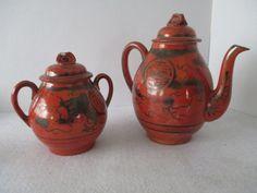 Teapot and Sugar Asian Vintage Porcelain Red Orange by #vintageonetsy #bestofetsy #etsyspecialt @EarthRT HobbitHouse