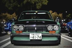 Datsun 510 | dobi-style air dam and jdm bluebird grill with supersonic badge.