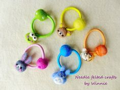 Needle felted hair ties by FunFeltByWinnie on Etsy, $20.00