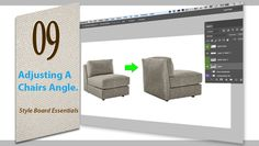 learn how to adjust an angle of a chair for Interior Design Styleboards/Moodboards in Photoshop