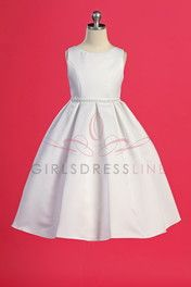 Click to enlarge : White Classic Pearl Trimmed Flower Girl Dress