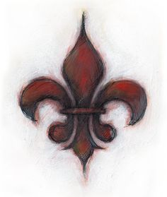 Fleur de Lis , Hi-Tec C and Acrylic in my Moleskin When I was in Louisville, I saw this symbol popping up everywhere. It has long been a. Leis, Cool Tattoos, Tatoos, Uv Tattoo, Painting & Drawing, Tatting, Body Art, Art Projects, Canvas Art