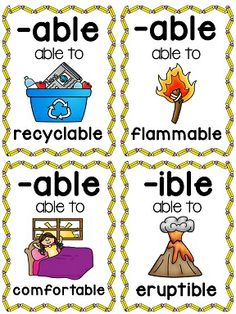 Suffixes Posters and Picture Cards for Center Activities by Miss Giraffe English Writing, English Words, English Lessons, Teaching English, English Time, Learn English, Phonics Rules, Phonics Words, Grammar Skills