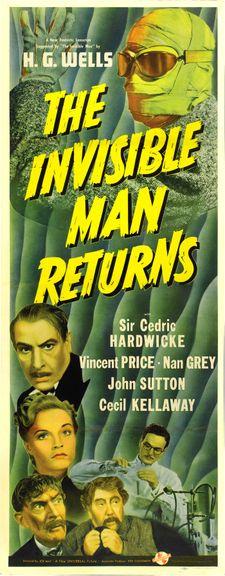 The Invisible Man Returns (1940) USA Universal Horror Vincent Price, Cedric Hardwicke. 08/04/03
