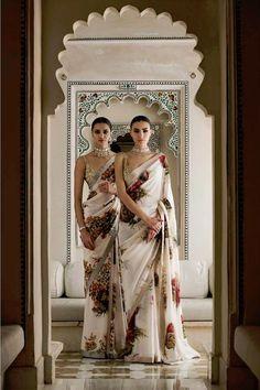 Udaipur floral printed georgette sarees // HAATI CHAI