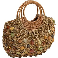 Cappelli Straw Macrame bag w/stones: Bags : Walmart.com.  Will try the turquois beads instead