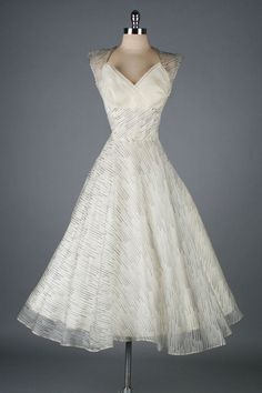 Beautiful Ivory Organza Dress ~ 1950's I think this beautiful  Ultra feminine dress is timeless..K♥♥♥♥