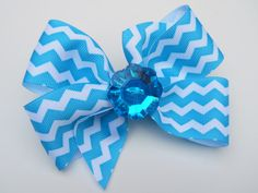Turquoise Chevron Hair Bow  Girls Hair Bow  by MissLottiesBoutique