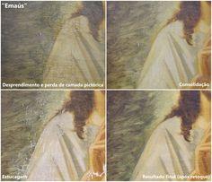 """Etapas da reintegração estética - detalhe da pintura """"a multiplicação dos pães e dos peixes"""" de Bruno Di Giusti - Catedral Metropolitana de Sorocaba."""