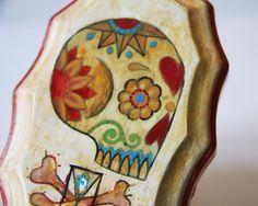 OOAK Painting  Sugar Skull on Wood by HorseAndHare on Etsy, $50.00