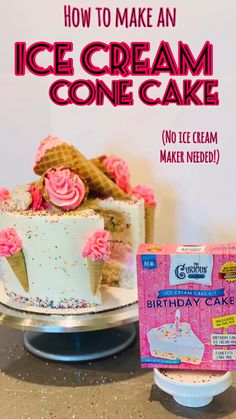 How to make an amazing ice cream cake - no ice cream maker needed! Confetti cake and ice cream covered in frosting and ice cream cones - perfect for any summer party! #icecreamcake #icecream akeideas #summercakes #summercakeideas #birthdaycake #birthdaycakeideas #icecreambirthday #icecreambirthdaycake