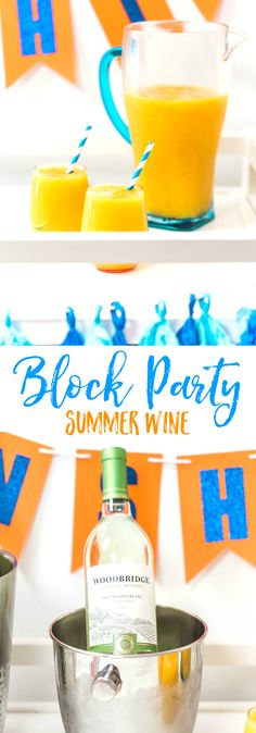 Summer Wine Block Party + Mango Lime Wine Slush Cocktail Drink Recipe - Hello Sunshine Banner and other party decorations