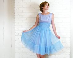 Vintage 1950s Dress XS S Lavender Full Skirt with topper Blue Chiffon Prom by blythehopesvintage on #etsy