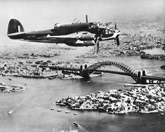 Anon An Australian built DAP Bristol Beaufort VIII aircraft, serial no A9-700, in flight over Sydney Harbour near the Bridge c. 1944 © Australian War Memorial .