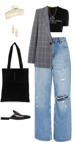 Kpop Outfits, Teen Fashion Outfits, Denim Fashion, Casual Outfits, Blue Shirt Outfits, Pants Outfit, Dynasty Clothing, Denim Trends, Fashion Brand