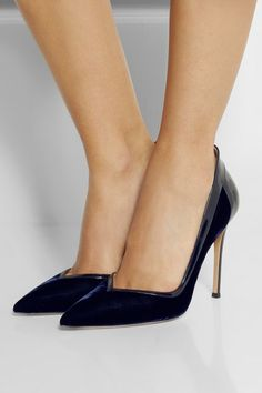 Gianvito Rossi Patent leather-trimmed velvet pumps in Midnight Blue. V front. Yes.