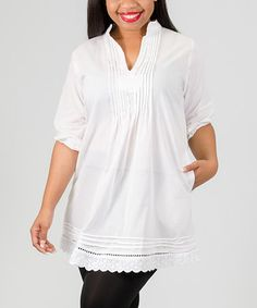 Love this White Pin Tuck Notch Neck Top - Plus on #zulily! #zulilyfinds