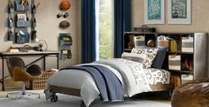 Tween Bedroom Design. the shelving and ball storage is so cool.