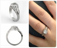 With Brilliance, design possibilities are endless.. Check out this gorgeous Custom Vintage/Antique-style Solitaire Ring Setting in 14K White Gold!  www.brilliance.com/custom-engagement-rings