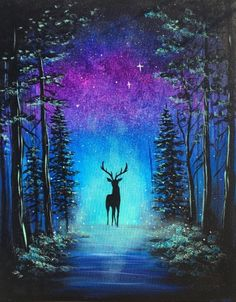 Join us for a Paint Nite event Tue Nov 2018 at 2509 St SW Lynnwood, WA. - Join us for a Paint Nite event Tue Nov 2018 at 2509 St SW Lynnwood, WA. Purchase your tic - Canvas Painting Tutorials, Acrylic Painting Canvas, Art Sketches, Art Drawings, Beautiful Nature Wallpaper, Galaxy Painting, Pastel Art, Landscape Paintings, Deer Paintings