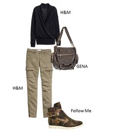 Military outfit: sweater and trousers by H&M, leather bag by GENA, leather shoes by Follow Me