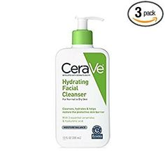 CeraVe Hydrating Facial Cleanser 12 oz Pack of 3 >>> Click image for more details. (This is an affiliate link) Natural Face Cleanser, Cleanser For Oily Skin, Facial Cleanser, Dry Skin, How To Find Out, Remedies, Packing, Personal Care, Cleansers