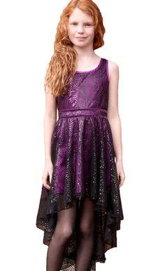 Hannah Banana Purple Sequin Swirl High Low Dress for Tweens & Teens