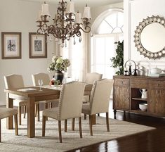 Acme Furniture Parker Collection 7 PC Dining Room Set with Dining Table + 6 Side Chairs in Salvage Oak Finish Concrete Dining Table, Counter Height Dining Table, Oak Dining Table, Extendable Dining Table, Dining Chairs, Acme Furniture, Dining Furniture, Breakfast Nook Dining Set, Solid Wood Dining Set