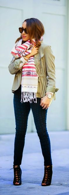 Olive Green Jacket +  Printed Oversized Scarf / Best LoLus Street Fashion