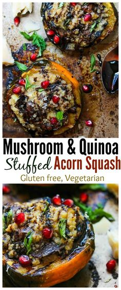 Mushroom and Quinoa Stuffed Acorn Squash; gluten free, vegetarian | dishingouthealth.com