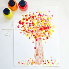 Parents love capturing their tots' handprints as they grow, making this Fall craft decorative and a colorful keepsake. With the help of some brown paint and a few cotton swabs, you are on your way to something special. This craft is perfect for the