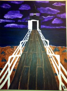 18x24 Original Painting 'Funky Lighthouse' by HaleyMcDanielFineArt, $200.00