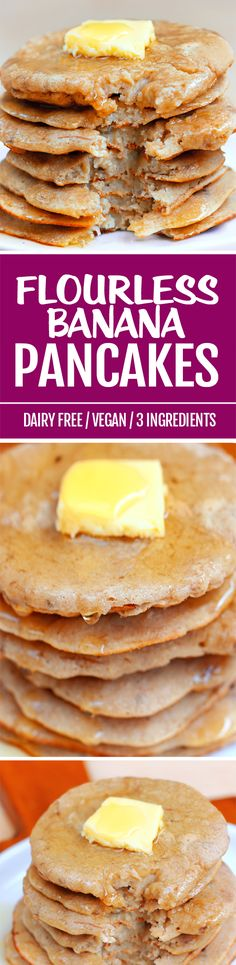 Flourless pancakes with just THREE ingredients, and NO eggs or oil required! paleo dessert no eggs Vegan Pancake Recipes, Banana Recipes, Healthy Breakfast Recipes, Baby Food Recipes, Gluten Free Recipes, Whole Food Recipes, Vegan Recipes, Cooking Recipes, Vegan Breakfast
