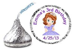 216 Princess Sofia The First Birthday Party Favors Hershey Kiss Kisses Labels | eBay