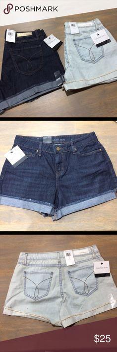 🆕👩🏻Calvin Klein shorts lot sz 2 NWT Both a lightweight denim blend much comfort than a heavy rigid denim. Folded hem. Light wash and dark wash. Calvin Klein Jeans Shorts Jean Shorts