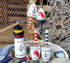 Maine Lobster Buoys Wedding Favors Christmas Ornaments set of
