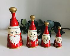 Vintage Father Christmas Russian doll bells, Christmas Decorations by Seekandchic on Etsy Father Christmas, Christmas Bells, Vintage Christmas, Christmas Decorations, Hot Sauce Bottles, Vintage Decor, Dolls, How To Make, Etsy
