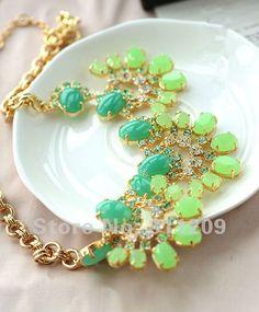 Prom Jewelry | ... Prom-Jewelry-Green-Swa-Crystal-Necklace-semi-precious-stone-Cluster